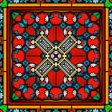 Seamless stained glass window panel Stock Photos