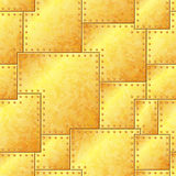 Seamless Stained Gold Riveted Plate Background Royalty Free Stock Photography