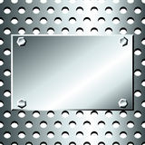 Seamless stainless grid with bolted plate. Seamless pattern of grey, stainless steel or silver metallic grid with circular holes, with bolted  metal plate for Stock Image