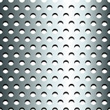 Seamless stainless metallic grid pattern. Seamless pattern of grey, stainless steel or silver metallic grid with circular holes, making industrial endless Stock Photo