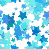 Seamless star background pattern - vector design from rounded pentagram stars in cyan tones with shadow effect. Seamless chaotic star background pattern - vector Stock Image