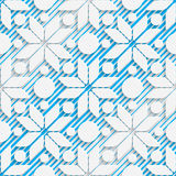 Seamless Star Design. Futuristic Tile Pattern. 3d Elegant Minimal Geometric Background. Abstract White and Blue Grid Wallpaper Royalty Free Stock Photography