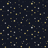 Seamless star pattern. Silver and golden stars on black background. Tileable vector texture Royalty Free Stock Image