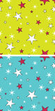 Seamless Star and Snow Patterns Stock Images