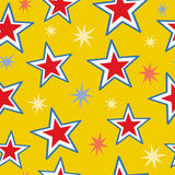 Seamless Stars. A seamless pattern of red, white and blue stars mixed with fun star bursts Stock Photography