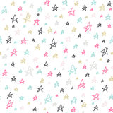 Seamless stars pattern. Colorful hand drawn doodles on white background. Vector illustration. Seamless pattern can be used for wal Royalty Free Stock Image
