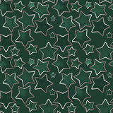 Seamless stars pattern in green colors Stock Images