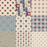 Seamless stars pattern. Seamless retro stars pattern set Stock Illustration