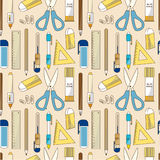 Seamless Stationery pattern. Drawing Royalty Free Stock Images