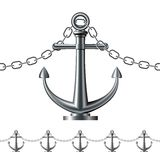 Seamless steel fence featuring an anchor Royalty Free Stock Photo