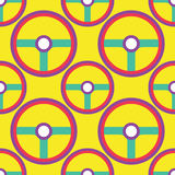 Seamless Steering Wheel Pattern. Icon colour background royalty free illustration