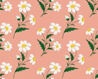 Seamless stitch embroidered camomile field pattern on a coral background. Vector illustration stock illustration
