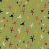 seamless stjärnor för modell Ändlös grön bakgrund också vektor för coreldrawillustration Arkivbild