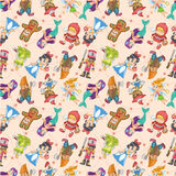 Seamless story people pattern Royalty Free Stock Photos
