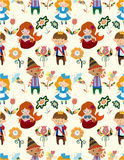 Seamless Story People Pattern Royalty Free Stock Images