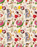 Seamless story people pattern. Drawing Royalty Free Stock Photos