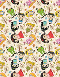 Seamless story people pattern. Drawing Stock Image