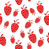 Seamless strawberries background. White simple background with cute red strawberries Stock Image