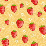 Seamless strawberries pattern Royalty Free Stock Photos
