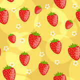Seamless strawberry background. Seamless yellow background with strawberries and flowers Royalty Free Stock Photo