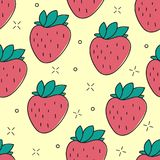 Seamless strawberry hand drawn vector pattern Royalty Free Stock Photo
