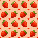 Seamless strawberry pattern. Seamless pattern with strawberry and hearts Stock Image