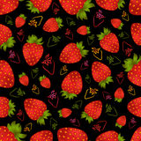 Seamless strawberry pattern. Illustration of seamless strawberry pattern on black background Stock Photography