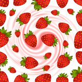 Seamless strawberry pattern. Illustration of seamless strawberry pattern with smooth cream swirl Stock Images