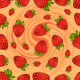Seamless strawberry pattern with swirl background Stock Image