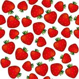 Seamless strawberry pattern vector background Stock Image