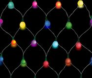 Seamless string of Christmas lights Royalty Free Stock Image