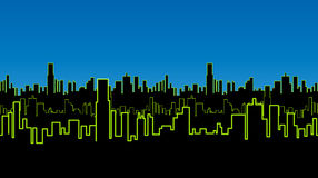 Seamless strip of the city at night with green neon color. Vivid glow of the contours of tall buildings. Royalty Free Stock Images