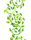 Seamless strip green border with scrolls, leaves. Watercolor Royalty Free Stock Image