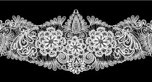 Seamless stripe - floral lace ornament - white on  Royalty Free Stock Photo