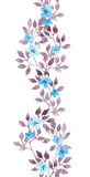 Seamless stripe frame - hand painted watercolour leaves and ditsy flowers. Repeated pattern. Stock Photography