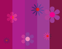 Seamless striped background with flowers Stock Image