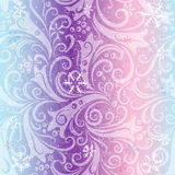 Seamless striped christmas pattern. With translucent vintage curls and snowflakes (vector EPS 10 Stock Photography