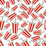 Seamless striped cups of soda pattern background Stock Image