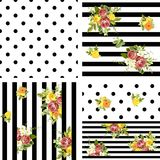 Seamless striped and dots style floral pattern. Vector illustrat Royalty Free Stock Photo
