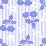 Seamless striped floral blue background. Seamless striped blue background with cherries stock illustration