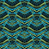 Seamless striped floral geometric pattern.Trendy print with colo royalty free illustration