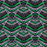 Seamless striped floral geometric pattern.Trendy print with colo vector illustration