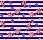 Seamless striped floral pattern with little bell flowers, large pink lilies and blue violets in vector. Print for fabric.  stock illustration