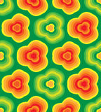 Seamless Striped  Floral Pattern. Orange Flowers on Green Background.  Geometric Abstract Background. Suitable for textile, fabric Royalty Free Stock Photo