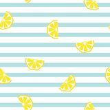 Seamless striped lemon geometric pattern, vector illustration. Stock Photos