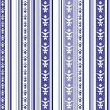 Seamless striped pattern with abstract motif in blue and white. Seamless vertical striped pattern with abstract motif in blue and white colors stock illustration