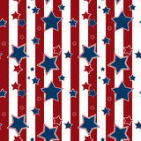Seamless striped pattern with blue stars background Stock Images