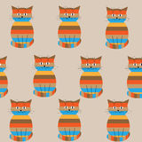 Seamless striped pattern with cute cats Stock Images