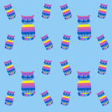 Seamless striped pattern with cute cats on a blue background Royalty Free Stock Photos