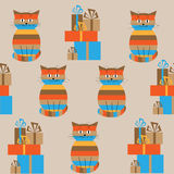 Seamless striped pattern with cute cats and gifts Stock Photos